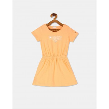 Tommy Hilfiger Girls Orange Knit Fit And Flare Dress