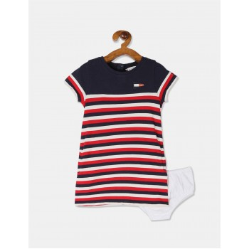 Tommy Hilfiger Girls Multi Colour Striped T-Shirt Dress With Bloomers