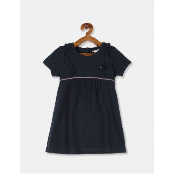 Tommy Hilfiger Girls Blue Short Sleeve Logo Pique Dress