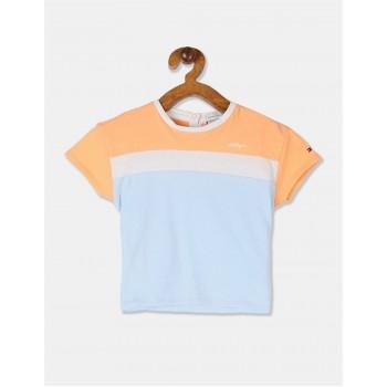 Tommy Hilfiger Girls Orange Short Sleeve Colour Block Top