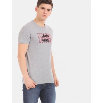 Tommy Hilfiger Men Grey Solid Casual T-Shirt