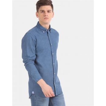 Tommy Hilfiger Men Blue  Printed Casual Shirt
