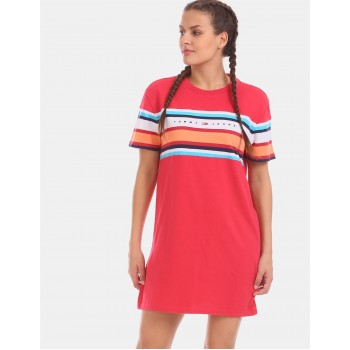Tommy Hilfiger Women Red Solid Casual Dress