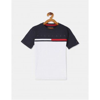Tommy Hilfiger Boys Navy And White Colour Block Cotton T-Shirt