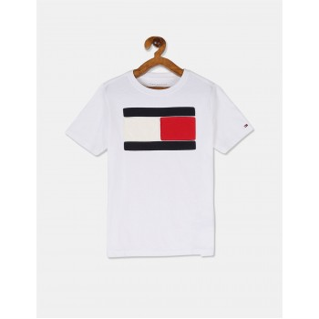 Tommy Hilfiger Boys White Short Sleeve Patch Logo T-Shirt