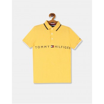 Tommy Hilfiger Boys Yellow Tipped Collar Brand Print Polo Shirt