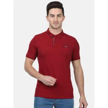 Monte Carlo Men Casual Wear Maroon Tshirt