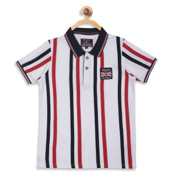 Monte Carlo Boys Striped  White T-Shirt