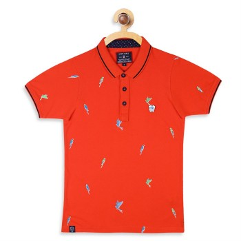 Monte Carlo Boys Orange Printed T-Shirt
