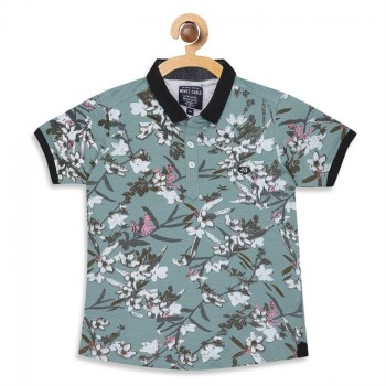 Monte Carlo Boys Floral Print  Green T-Shirt
