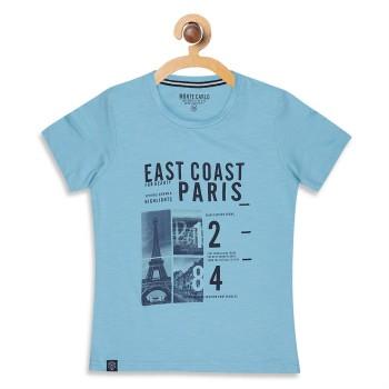Monte Carlo Boys Printed  Blue T-Shirt