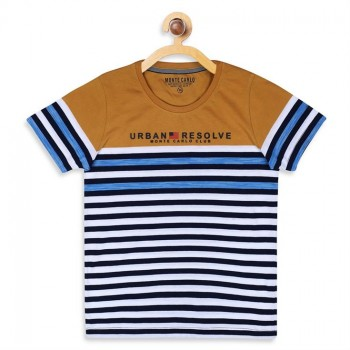 Monte Carlo Boys Striped  Multicolor T-Shirt