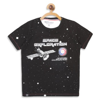 Monte Carlo Boys Printed  Black T-Shirt