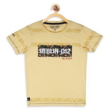 Monte Carlo Boys Printed  Yellow T-Shirt