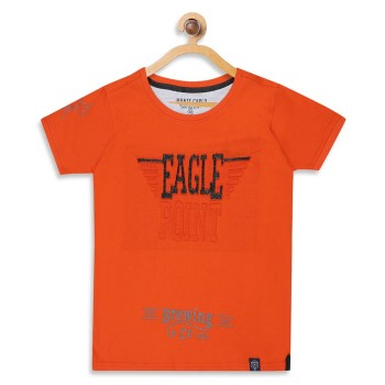 Monte Carlo Boys Printed  Orange T-Shirt