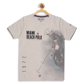 Monte Carlo Boys Printed  Beige T-Shirt