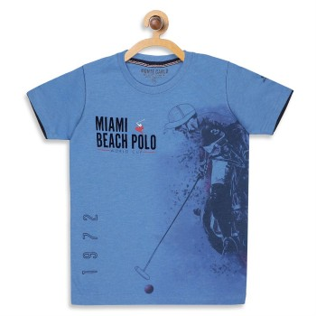 Monte Carlo Boys Printed  Blue T-Shirt