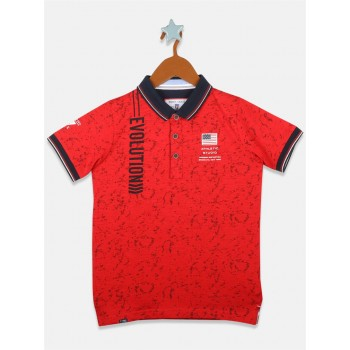 Monte Carlo Boys Casual Wear Red T-Shirt