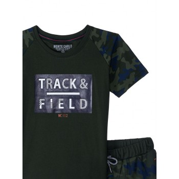 Monte Carlo Boys Casual Wear Olive T-Shirt and Shorts Set