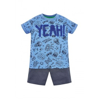 Mothercare Boys Blue Printed T-Shirt & Shorts Set