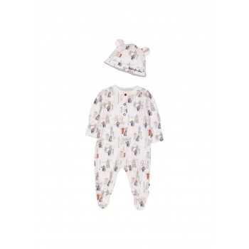 Mothercare Unisex Multicolor Printed Sleepsuit & Hat Set