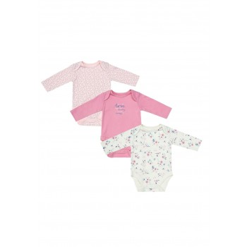 Mothercare Girls Pink Printed Pack of 3 Bodysuit
