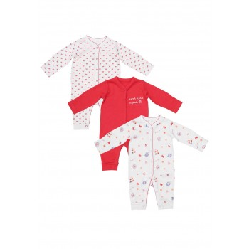 Mothercare Girls Pink Printed Pack of 3 Sleepsuits