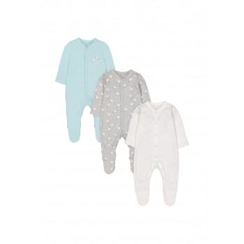 Mothercare Unisex Assorted Printed Pack of 3 Sleepsuit