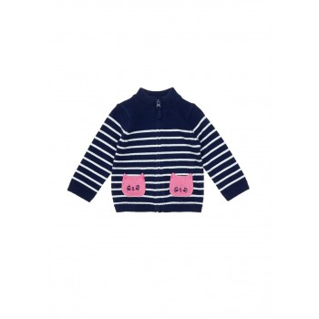 Mothercare Girls Navy Striped Pullover