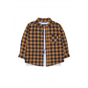 Mothercare Boys Multicolor Checkered Shirt & T-Shirt Set