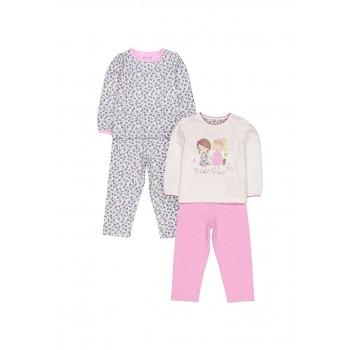 Mothercare Girls Pink Printed Pack of 2 Pyjamas