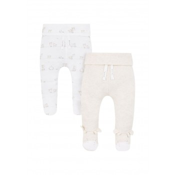 Mothercare Unisex White Printed Pack of 2 Joggers With Feet