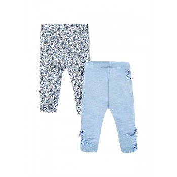 Mothercare Girls Blue Printed Pack of 2 Leggings