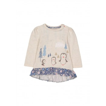 Mothercare Girls Beige Printed T-Shirt