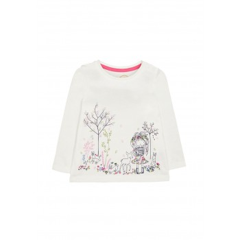 Mothercare Girls White Printed T-Shirt