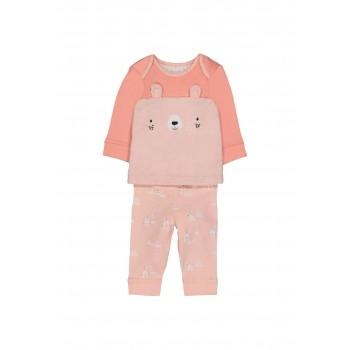 Mothercare Girls Pink Textured Pyjama