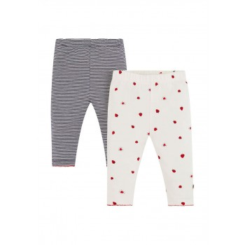 Mothercare Girls White Printed Pack of 2 Leggings