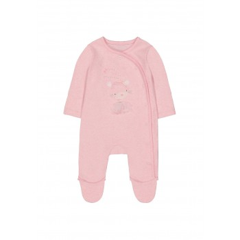 Mothercare Girls Pink Applique Sleepsuit