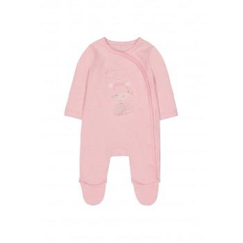 Mothercare Girls Pink Applique Sleepsuit