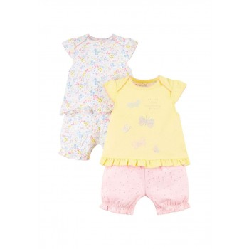 Mothercare Girls Multicolor Printed Top & Shortie Pyjama  Set