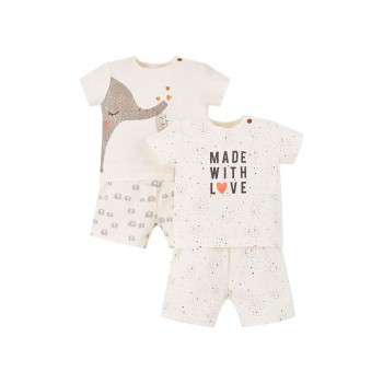 Mothercare Unisex Off White Printed Pack of 2 T-Shirt & Shortie Pyjamas