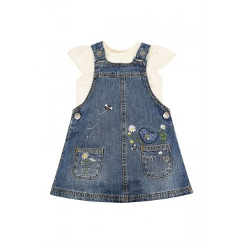 Mothercare Girls Blue Applique Top & Pinny Dress Set