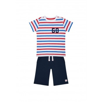 Mothercare Boys Multicolor Striped T-shirt & Shorts Set