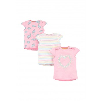 Mothercare Girls Pink Printed Pack of 3 T-Shirts
