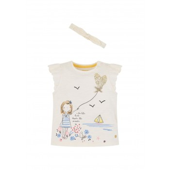Mothercare Girls White Printed T-shirt & Headband Set