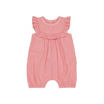 Mothercare Girls Red Checkered Romper