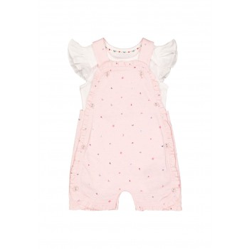 Mothercare Girls Pink Embroidered Romper & Bodysuit Set