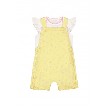 Mothercare Girls Yellow Embroidered Romper & Bodysuit Set