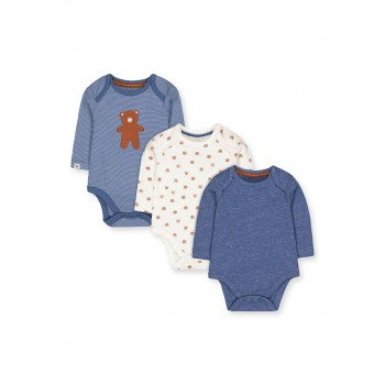Mothercare Boys Blue Printed Pack of 3 Bodysuits