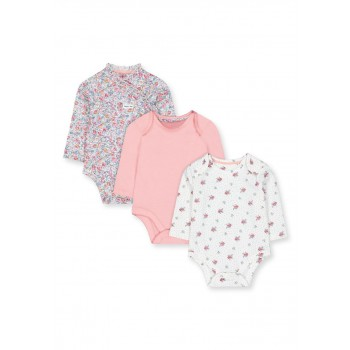 Mothercare Girls Assorted Printed Pack of 3 Bodysuit